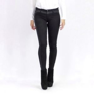 AG Jackie tuxedo super skinny jeans black stripe